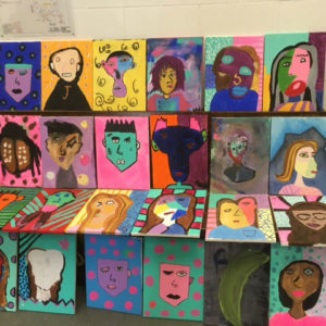A group of abstract painted portraits